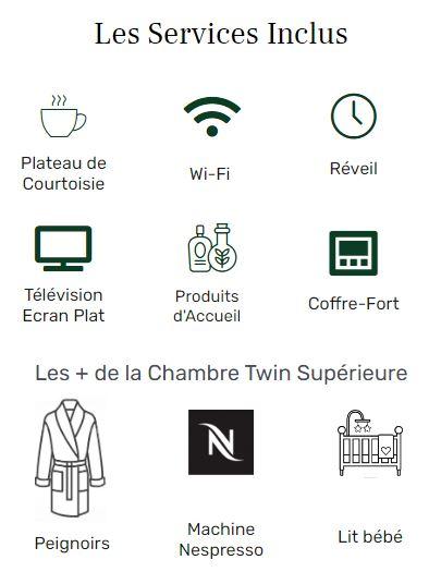 services inclus - twin supérieure - hôtel acacias étoile